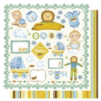 "Doublesided Paper ""Mix Baby Boy/Streifen"