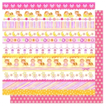 "Doublesided Paper ""Steifen Mix Baby Girl/Sterne"""
