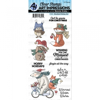 Art Impressions Clear Stamps - Woodland Holiday Set
