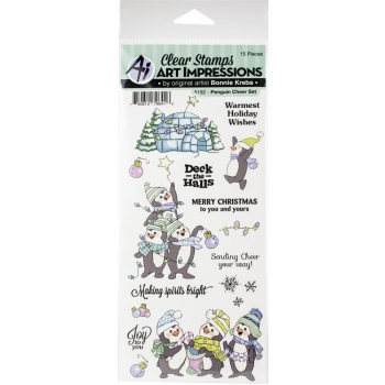 Art Impressions Clear Stamps - Penguin Cheer Set