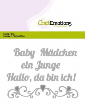 Craft Emotions Stanze - Baby Hallo, da bin ich!