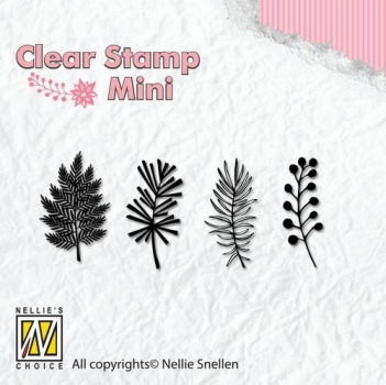 Nellies Choice Mini Clearstamp - Christmas Branches 1