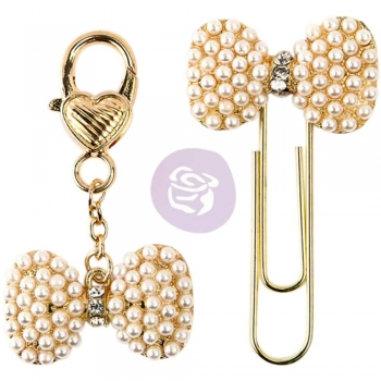 Prima Traveler`s Journal Charms - Pearl & Gold Bows (Schleife)