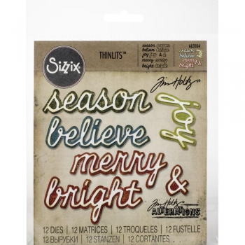 Sizzix Tim Holtz DIE Set - Shadow Script Christmas