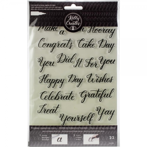 Kelly Creates - Acrylic Sentiments Celebration Stamps