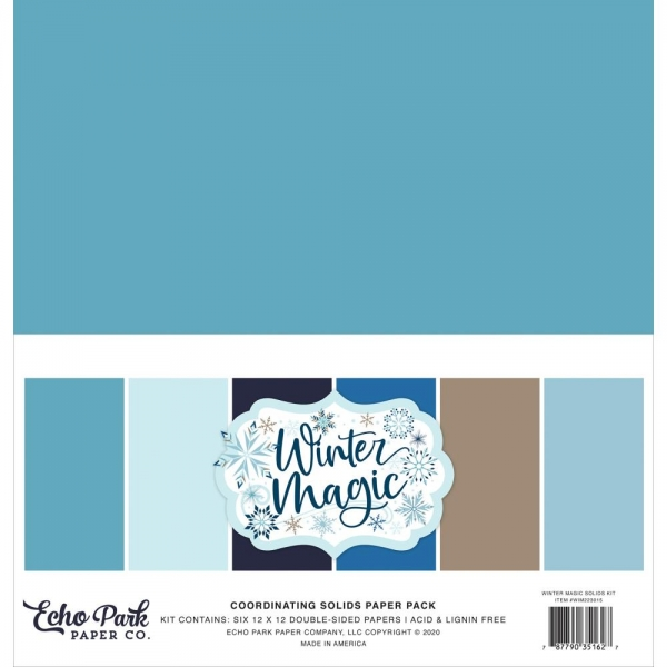 "Echo Park - Coordinating Solid Paper Pack - 12"" x 12"" - Winter Magic"