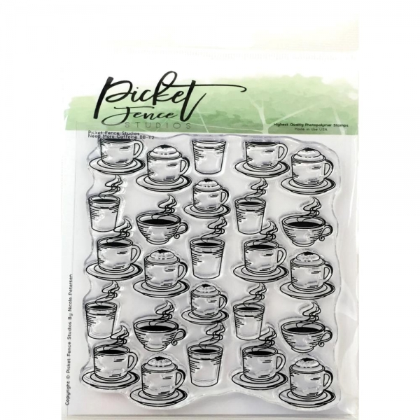 Picket Fence Clear Stamps - Need More Caffeine