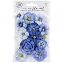 Prima Marketing Mulberry Paper Flowers - Blue River/Nature Lover 14 Stk.